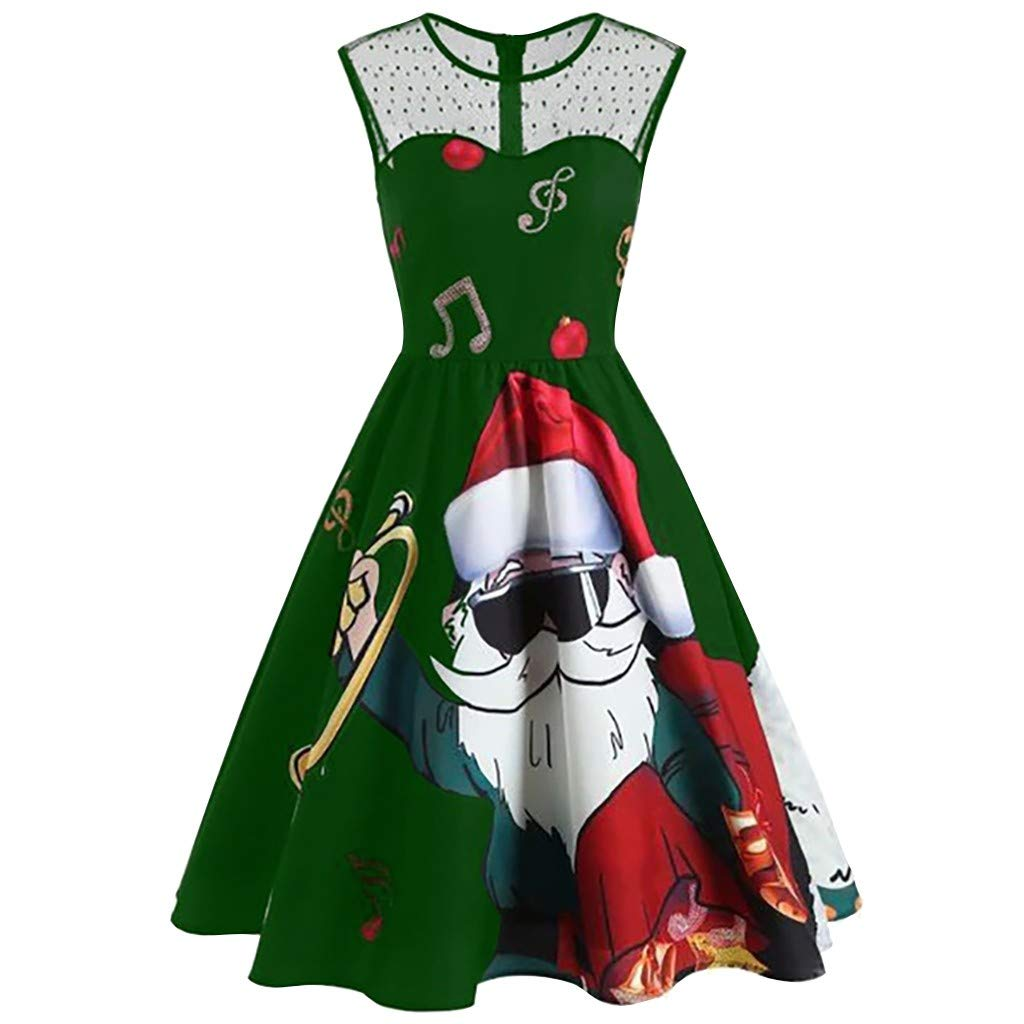 Christmas Dresses for Women Vintage Sleeveless Cocktail A-Line Santa Claus Print Party Swing Dress Costumes (Green, XXL) by Vicbovo Clearance
