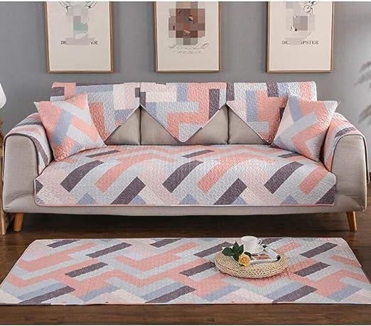 WBFN Funda De Sofá, Estirar la Tela Funda de sofá elástica, Temporadas Inicio sofá Mesa de café de algodón de algodón cojín del sofá patrón geométrico salón Manta Cubierta: Amazon.es: Hogar