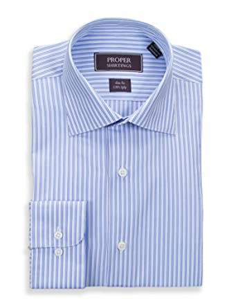 Symbol Of The Brand Slim Fit Blue Plaid Herringbone Spread Collar Wrinkle Freee Cotton Dress Shirt Men's Clothing