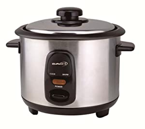 Saachi Rice Cooker 3-Cup (Uncooked) Stainless Steel with Non-stick Pot, Model SA-RC-60