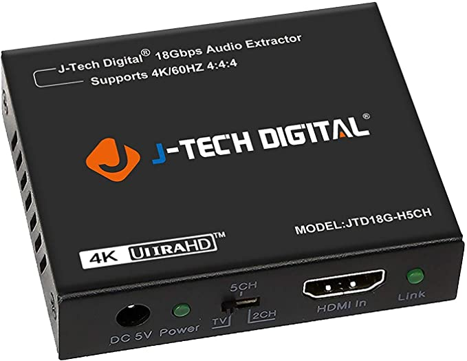 Amazon Com J Tech Digital 4k 60hz Hdmi Audio Extractor Converter Spdif 3 5mm Output Supports Hdmi 2 0 18gpbs Bandwidth Hdcp 2 2 Dolby Digital Dts Passthrough Cec Hdr10 Jtd18g H5ch Computers Accessories