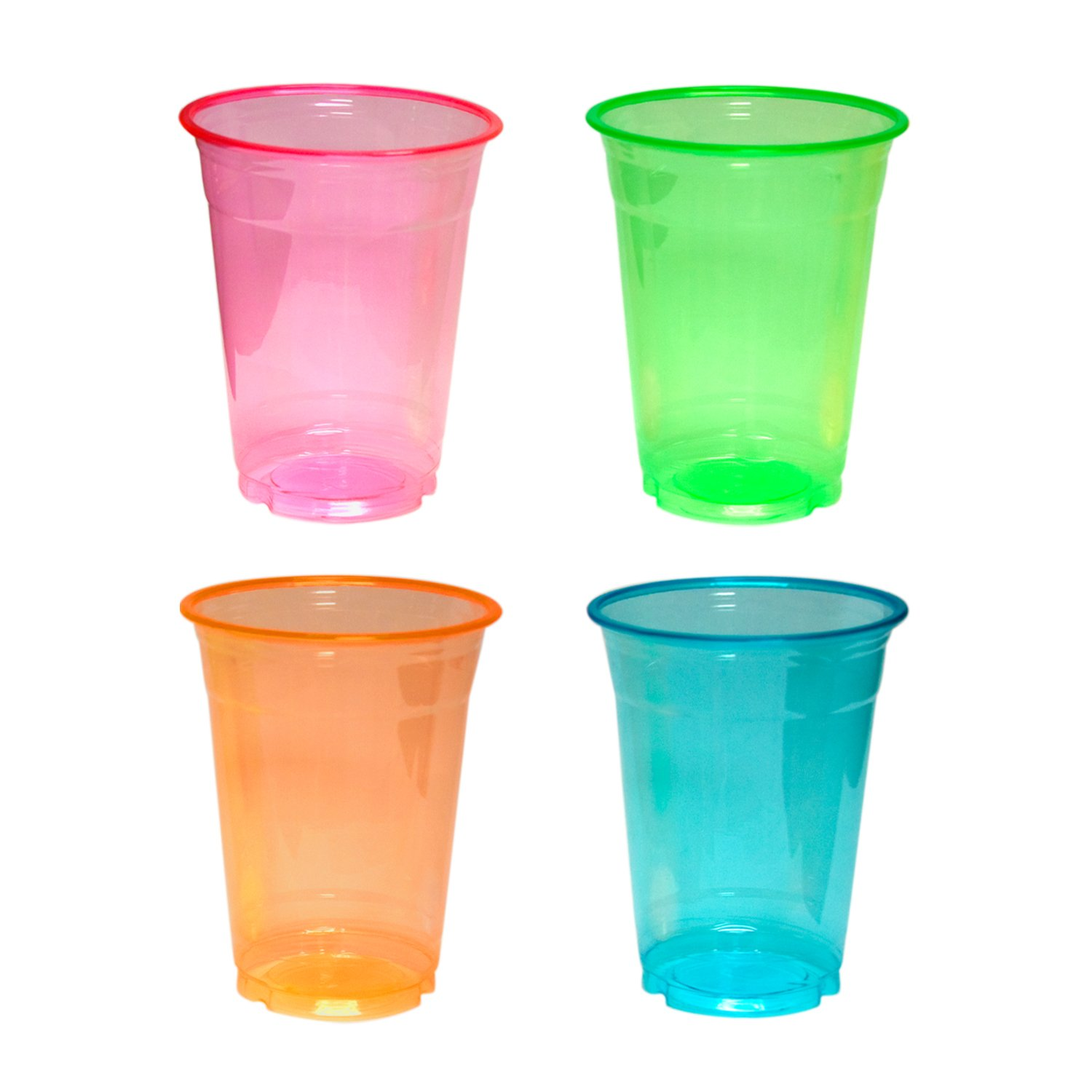 Party Essentials Soft Plastic 16-Ounce Party Cups/Pint Glasses, 120-Count, Assorted Neon
