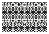 Lunarable Tribal Pet Mats for Food and Water, Hand Drawn Style Tribal Pattern Geometric and Oranmental Aztec Design Print, Rectangle Non-Slip Rubber Mat for Dogs and Cats, Black and White