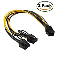 Maibahe 【2 Pack】 Carte d'Extension PCI-E 6 pin PCIe to 2 x PCIe 8 (6 + 2) Broche Câble d'alimentation Carte Graphique PCI-e Express Splitter VGA Power Extension Câble d'accessoires de calcul 30cm