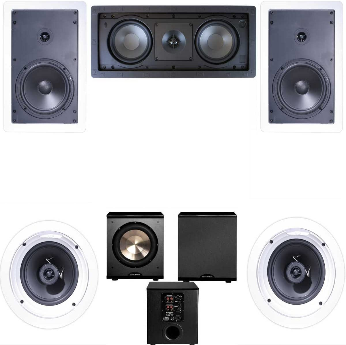 Klipsch R-1650-W In Wall 2 5.1 Home Theater System R-2502-W -FREE PL-200