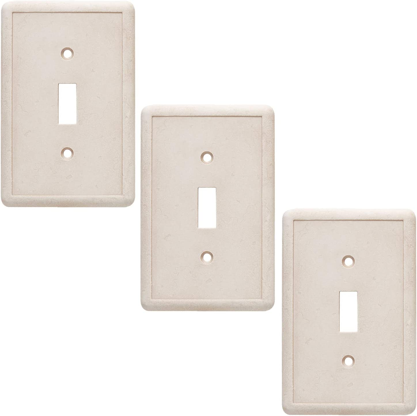 Single Toggle 3 Pack - Ivory Light Switch Cover Cast Stone Textured Decorative Outlet Cover
