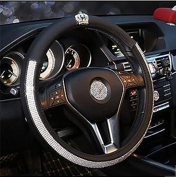 RUIRUI Car Steering Wheel Cover Bling Rhinestone Leather Handcraft For Lady