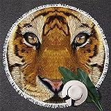 BlessLiving Tiger Beach Towel 3d Animal Print Towels Big Cat Beach Towel Circle Beach Blanket with Tassels (59 inch)