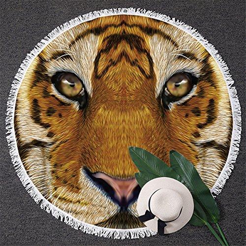 BlessLiving Tiger Beach Towel 3D Animal Print Towels Big Cat Beach Towel Circle Beach Blanket with Tassels (59 inch) (Tigers Circle)
