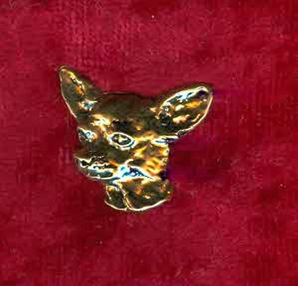 Pin// Anstecker vergoldet Hunde Chihuahua p023