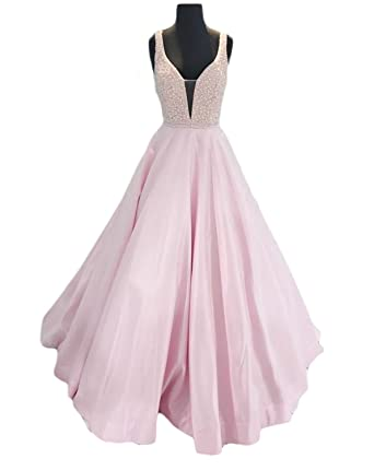 Vweil Seniors 2018 V-Neck Beaded Prom Dresses Long Formal Evening Party Gowns at Amazon Womens Clothing store: