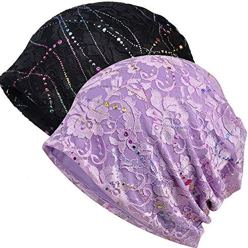 Womens Cotton Beanie Lace Turban Soft Sleep Cap Chemo Hats Fashion Slouchy Hat (2 Pack Black+Purple)]()