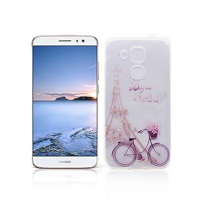 Funda Huawei Nova Plus Carcasa Protectora OuDu Funda para Huawei Nova Plus Caso Silicona TPU Funda Suave Soft Silicone Case - Torre & Bicicleta