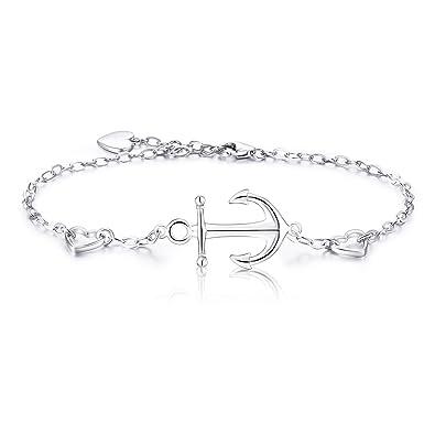 925 Sterling Silber Anker Armband - Billie Bijoux weißes Gold überzogenes  Frauen-Charme justierbares Armband  Amazon.de  Schmuck bed0a088b2