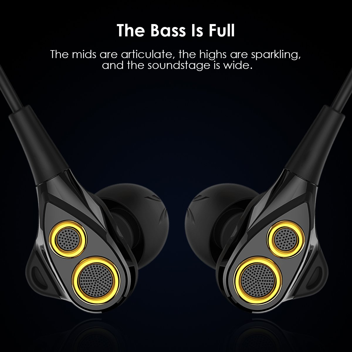 in-Ear HiFi Earphones, UiiSii T8S Triple Driver Earbuds Noise Reduction and Deep Bass with Mic Volume Control for Smartphones Black