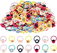 60 PCS Hair Ties for Girls, Elastic Rubber Bands Colorful Hair Accessories for Kids Toddlers Little Girls