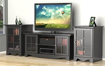 Amazon Com Eco Friendly Tv Stand With 2 Audio Towers In Black