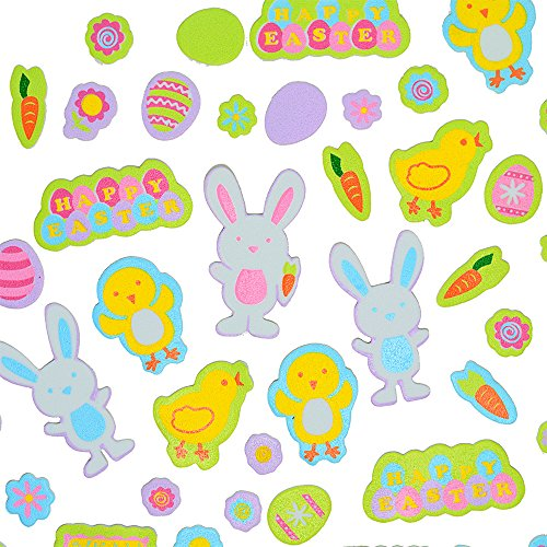 Disney Foamies (2 Set of 128 Pcs Foamies Foam Stickers, Easter Hopping Down The Bunny Trail, Scarpbook Arts Crafts Decorative, Assorted Sizes, Easter Decor, Adhesive Children's Fun Project. 256)
