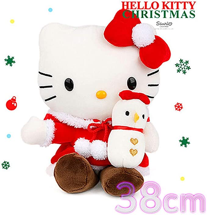 Amazon Com Hello Kitty Christmas Snowman Plush Doll Large 15 Home Kitchen