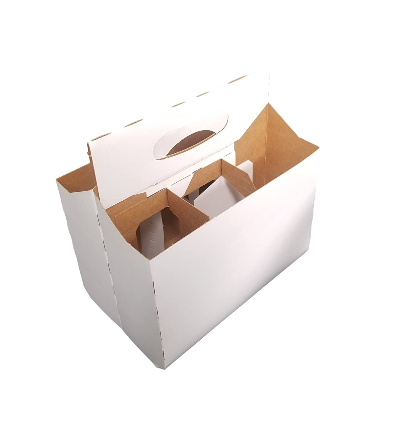 6 Pack Cardboard 12 oz. Beer/Soda Bottle Carrier by MT Products - (10 Pieces) (Kraft) 6PACK10WH