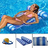 Mioshor Water Float Hammock,Pool Inflatable Rafts Lounger with Pillow For Adults/Children Summer Water Toys-Portable Air Lightweight Floating Seat Mat with 1 Air Pump