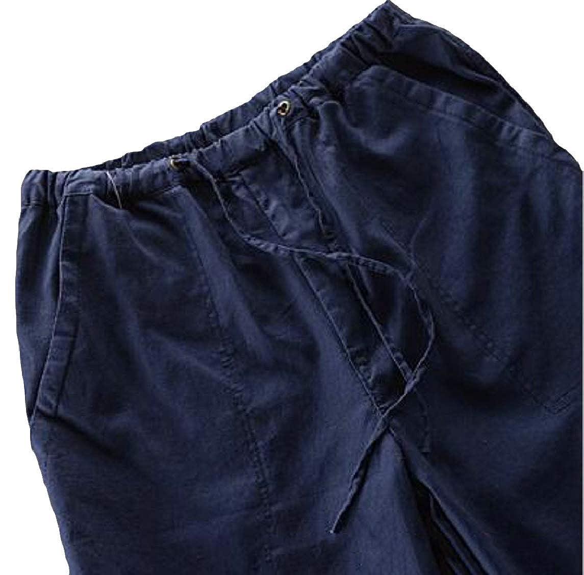 Jmwss QD Mens Linen Casual Pants Elastic Waist Loose Fit Trousers Beach Pant