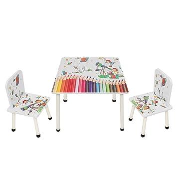 CMY Enfants en Bois Table et 2 chaises pour Enfants Chambre à Coucher Salle  de Jeux Meubles pour Chambre d\'enfant avec Rangement Plus cachés en ...