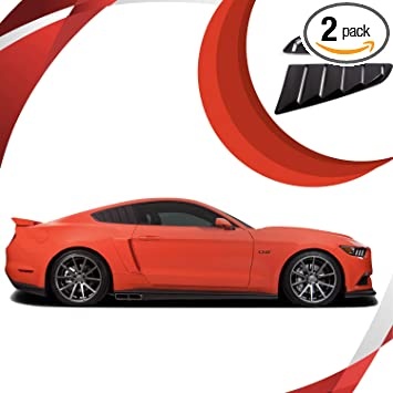 1//4 Quarter Black Side Window Louvers Scoop Cover Vent  For 15-17 Ford Mustang