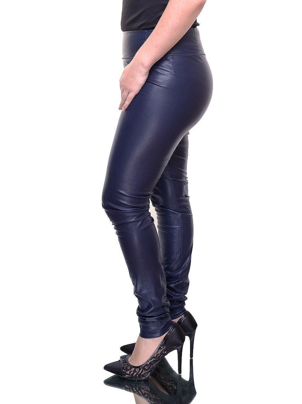bf626409d98698 RALPH LAUREN Lauren Women's Alatea Faux Leather Leggings Pants, Navy Blue  at Amazon Women's Clothing store:
