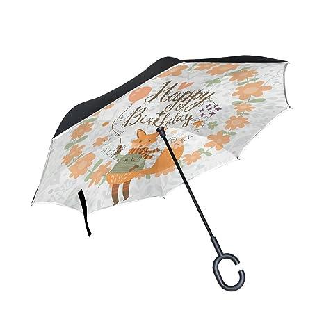 COOSUN Capa de dibujos animados Fox feliz cumpleaños doble del paraguas invertido inversa para el coche