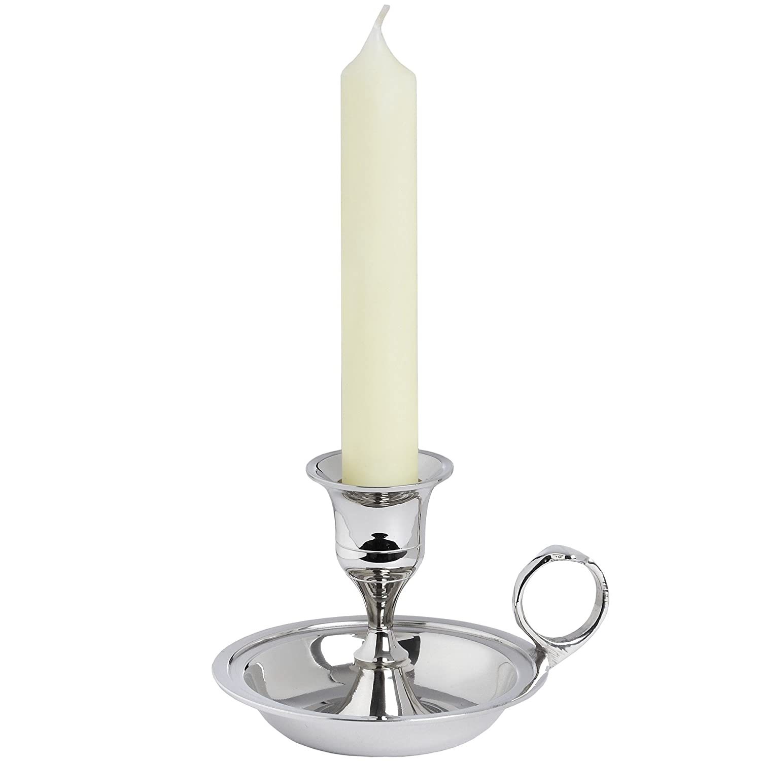Interior Flair Polished Nickel Classic Wee Willie Winkie Single Candle Holder