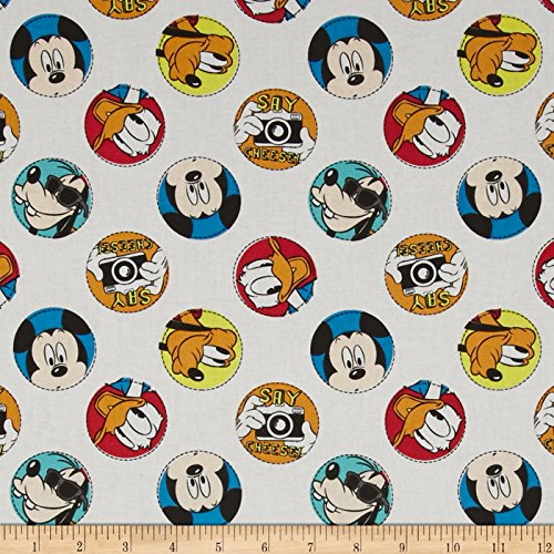 Disney Mickey Say Cheese Character Badge White Fabric by The Yard