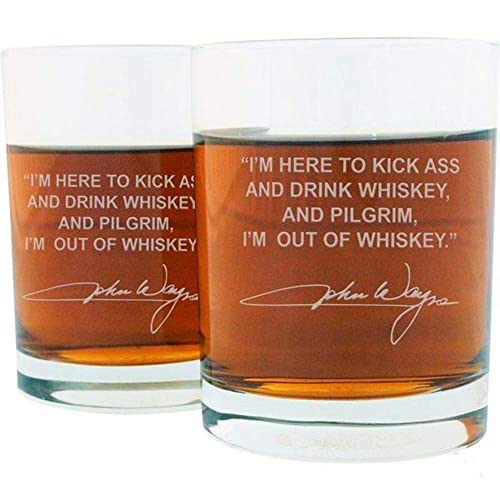 Amazon Com John Wayne Famous Quote Whiskey Glass Set Handmade
