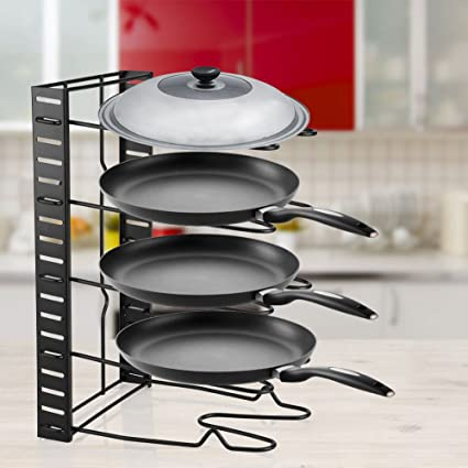 Exceptionnel Pan Organizer Rack, 5 Tier Adjustable Kitchen Saucepan Frying Pan Stand  Holder Iron Organiser Storage