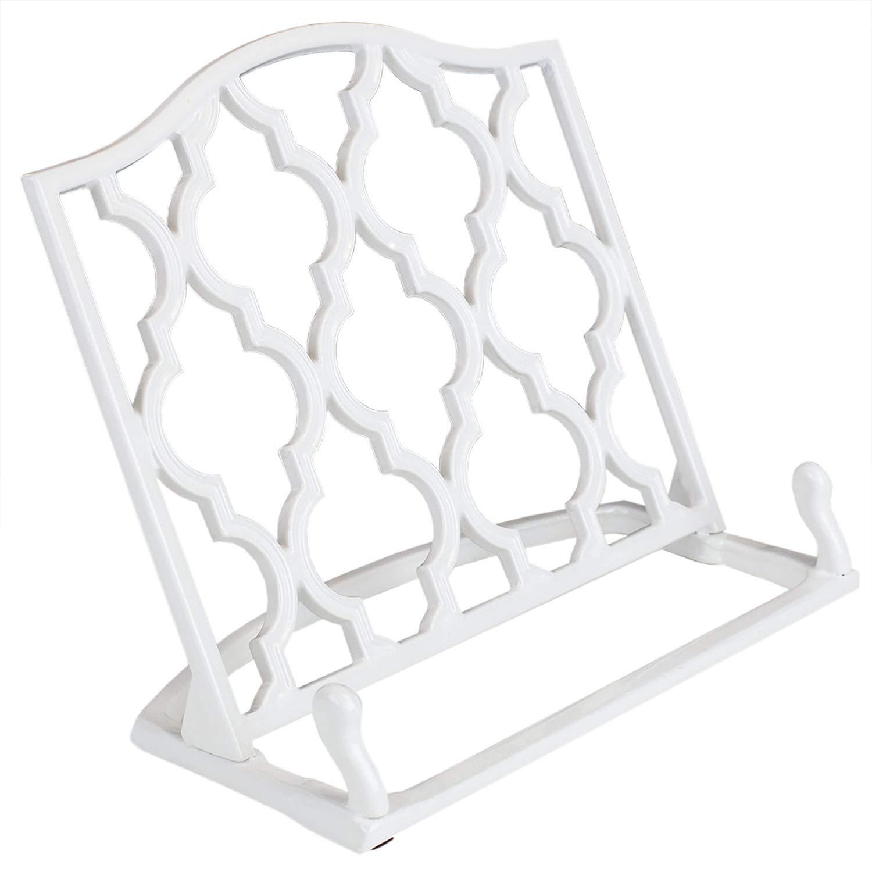 Home Basics Cast Iron Moroccan Lattice Cookbook Stand Holder, 10.5 x 5.5 x 9 Inches (White)