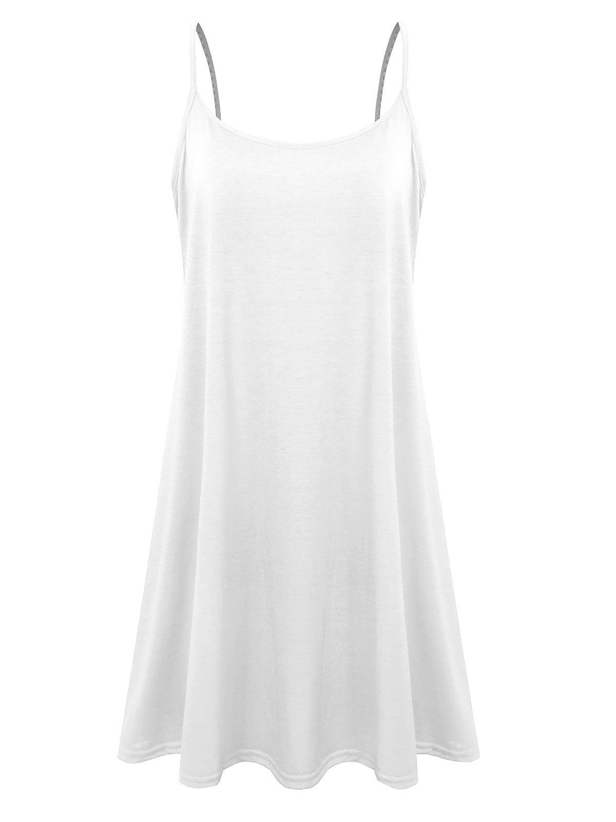 7th Element Plus Size Women's Casual Spaghetti Loose Swing Slip Dress (White,4X)