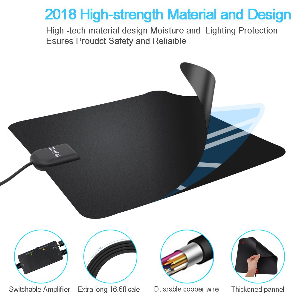 HDTV Antenna, Indoor Digital Amplified TV Antenna 70-100 Miles Range with Adjustable Amplifier Signal Booster 4K1080P HD VHF UHF Freeview for Life Local Channels Support ALL TV's -16.5ft Coax Cable by HotCat (Image #2)