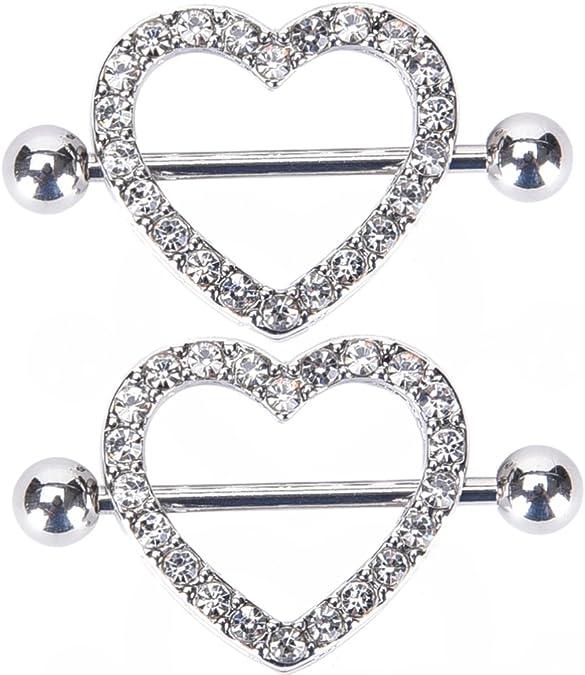 ONE nipple ring,16G heart nipple barbell,rose gold nipple ring,beaded nipple piercing jewelry