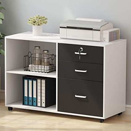 Tribesigns 3 Drawer Wood File Cabinets Large Modern Lateral Mobile Filing Cabinets Printer Stand With Wheels Open Storage Shelves For Home White
