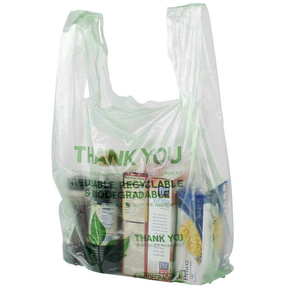 [100 Pack] Biodegradable Plastic T-Shirt Reusable Shopping Bags, Green ECO Friendly Grocery Compostable Bags, With Thank You Message.