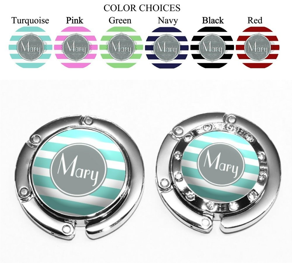 Personalized Purse Hanger with Modern Stripes in 6 COlor Choices