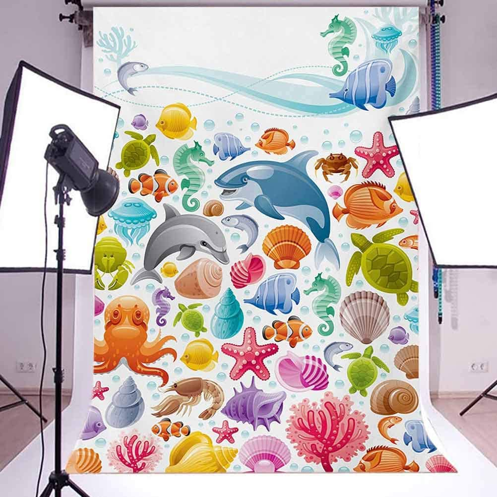10x12 FT Backdrop Photographers,Diving Sea Animals Collection with Marine Objects Whale Corals Underwater Background for Child Baby Shower Photo Vinyl Studio Prop Photobooth Photoshoot