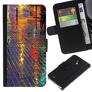 iKiki Tech / Cartera Funda Carcasa - Street Reflective Night City Tiles - Samsung Galaxy S4 Mini i9190 MINI VERSION!