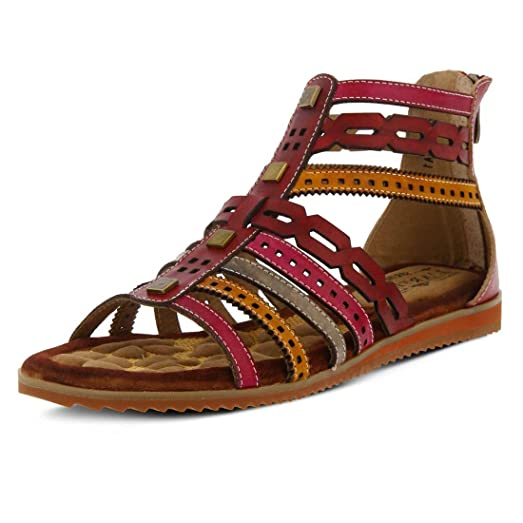L'Artiste by Spring Step Women's Anjula Gladiator Sandal,Bordeaux Multi  Leather,