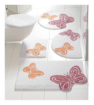 Badteppich Schmetterling In Weiss Lachs Rose 45 X 50 Cm Mit Einem