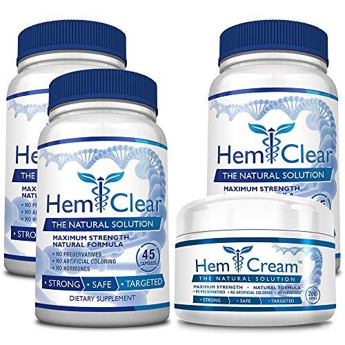 HemClear for Hemorrhoids (Highest point Strength 3 Bottles + 1 Cream)