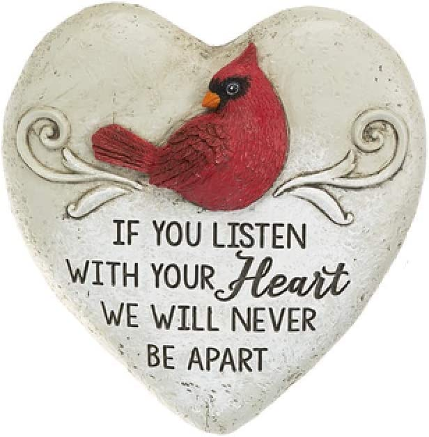 Ganz Heart Shaped Cardinal Memorial Stone Garden Plaque ~ 2 Various Designs (If You Listen with Your Heart)