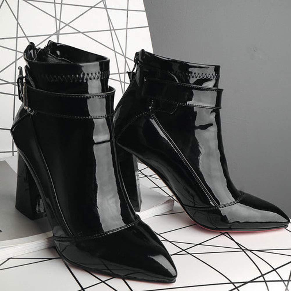 Frauen Schuhe Spitz PU Lackleder Zurück Reißverschluss Stiefel Mit Quadratischen Heel High Heel Quadratischen Damenmode Straße Wasserdichte Gehende Motorradstiefel 816911