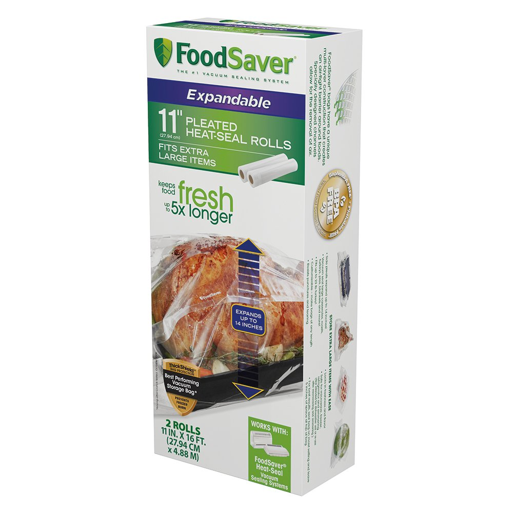 FoodSaver 11'' x 16' Expandable Heat-Seal Rolls, 2-Pack