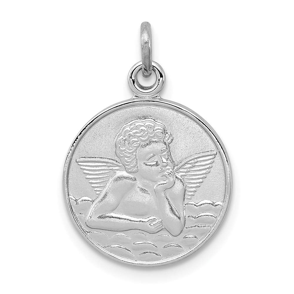 FB Jewels Solid 925 Sterling Silver Rhodium-Plated Plain Back Angel Medal